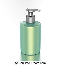 3D illustration green bottle with liquid soap