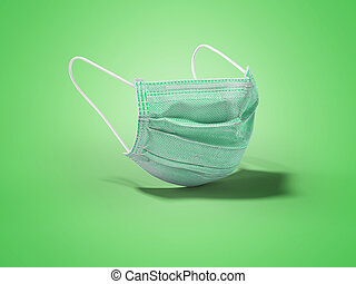 3d illustration green medical mask isolated on blue background with shadow