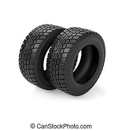 3D illustration. Group of car tires on a white background