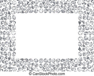 3D illustration Group of diamonds rectangle frame on a white background