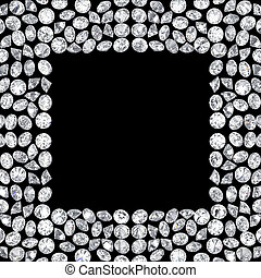 3D illustration Group of diamonds square frame on a black background