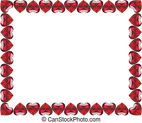 3D illustration group of red diamonds hearts frame