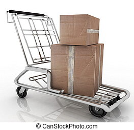 3d illustration, hand truck with two cardboard boxes
