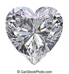 3D illustration heart diamond stone