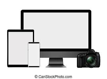 3D illustration High set of modern computer monitor, tablet pc, mobile phone and DSLR Camera isolated on white