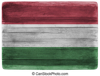 3d illustration Hungary flag on wooden board