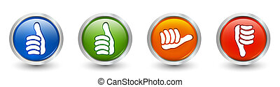 3d illustration. Icons green and blue thumb up - thumb down...