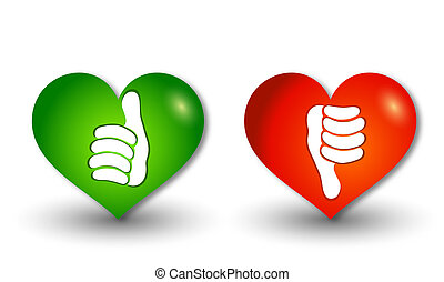 3d illustration icons heart-shaped buttons thumbs up green...