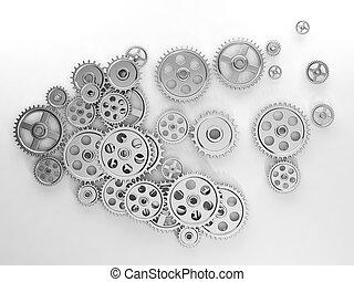 3d, illustration:, idéias, um, grupo, de, engrenagens, em, a, forma, de, a, cérebro, a, trabalho, de, idéias