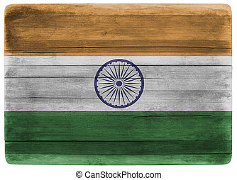 3d illustration India flag on wooden board