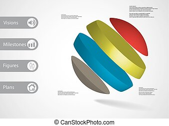3D illustration infographic template with ball askew divided...