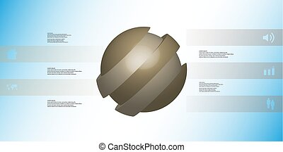 3D illustration infographic template with ball askew sliced to five shifted parts