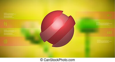 3D illustration infographic template with ball askew sliced to four shifted parts
