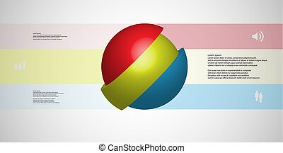 3D illustration infographic template with ball askew sliced...