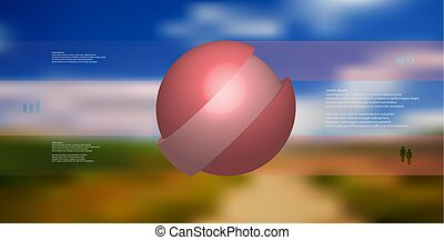 3D illustration infographic template with ball askew sliced to three shifted parts
