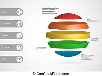 3D illustration infographic template with ball horizontally ...