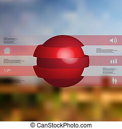 3D illustration infographic template with ball sliced to five parts and stacked with shifted elements