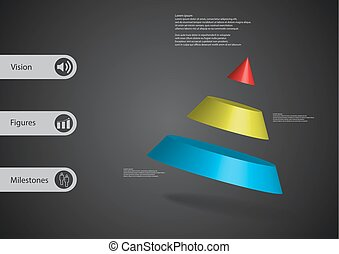 3D illustration infographic template with cone divided to...