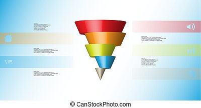 3D illustration infographic template with cone horizontally sliced to five shifted parts