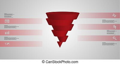 3D illustration infographic template with cone horizontally sliced to six shifted parts