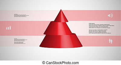 3D illustration infographic template with cone horizontally sliced to three shifted parts