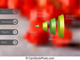 3D illustration infographic template with cone vertically divided to four parts