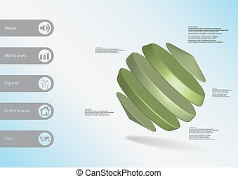 3D illustration infographic template with cylinders between...