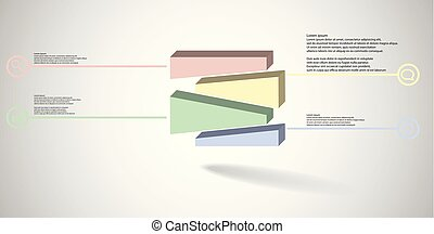 3D illustration infographic template with embossed cube randomly divided to three moved parts