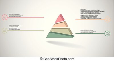 3D illustration infographic template with embossed triangle randomly divided to four parts