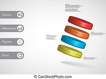 3D illustration infographic template with four cylinders...