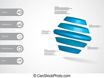 3D illustration infographic template with rotated hexagon...