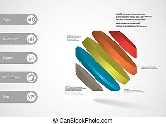 3D illustration infographic template with rotated octagon...