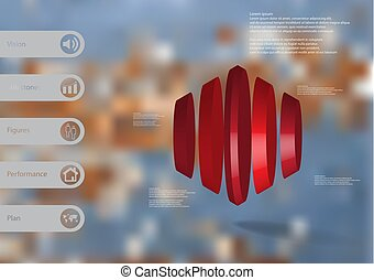 3D illustration infographic template with round hexagon vertically divided to five parts