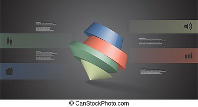 3D illustration infographic template with round pentagon...