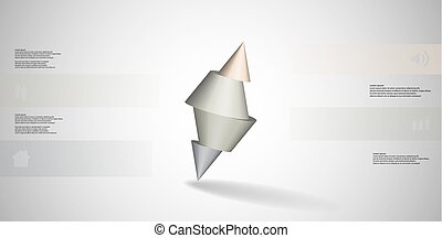 3D illustration infographic template with spiked cone sliced...
