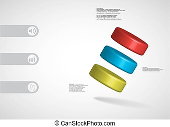 3D illustration infographic template with three cylinder...