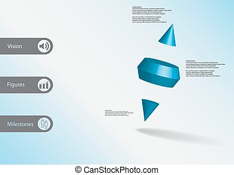 3D illustration infographic template with two spike cone...