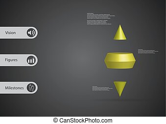 3D illustration infographic template with two spike cone horizontally divided to three green slices
