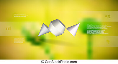 3D illustration infographic template with two spiked cone...