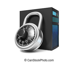 3d illustration: Information Security. Server and security lock