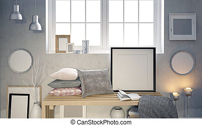 3d illustration, interior with a large number of frames