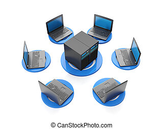 3d illustration internet technology. The group of servers and laptops connected to the network