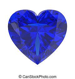 3D illustration isolated blue diamond heart stone