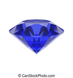 3D illustration isolated blue emerald round sapphire diamond gemstone