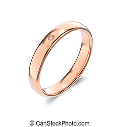 3D illustration isolated classic rose gold ring with a diamond on a white background