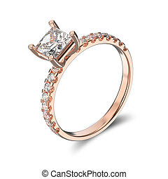 3D illustration isolated classic rose gold ring with a diamonds on a white background
