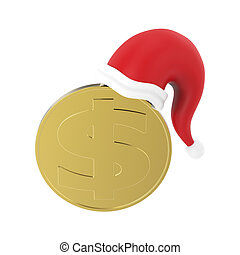3D illustration isolated gold coin in the Christmas Santa Claus hat