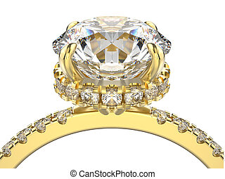 3D illustration isolated macro yellow gold ring with diamonds on a white background