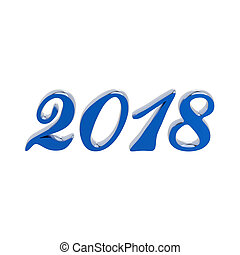 3D illustration isolated new year 2018 blue numbers