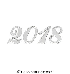 3D illustration isolated new year 2018 glass or ice numbers